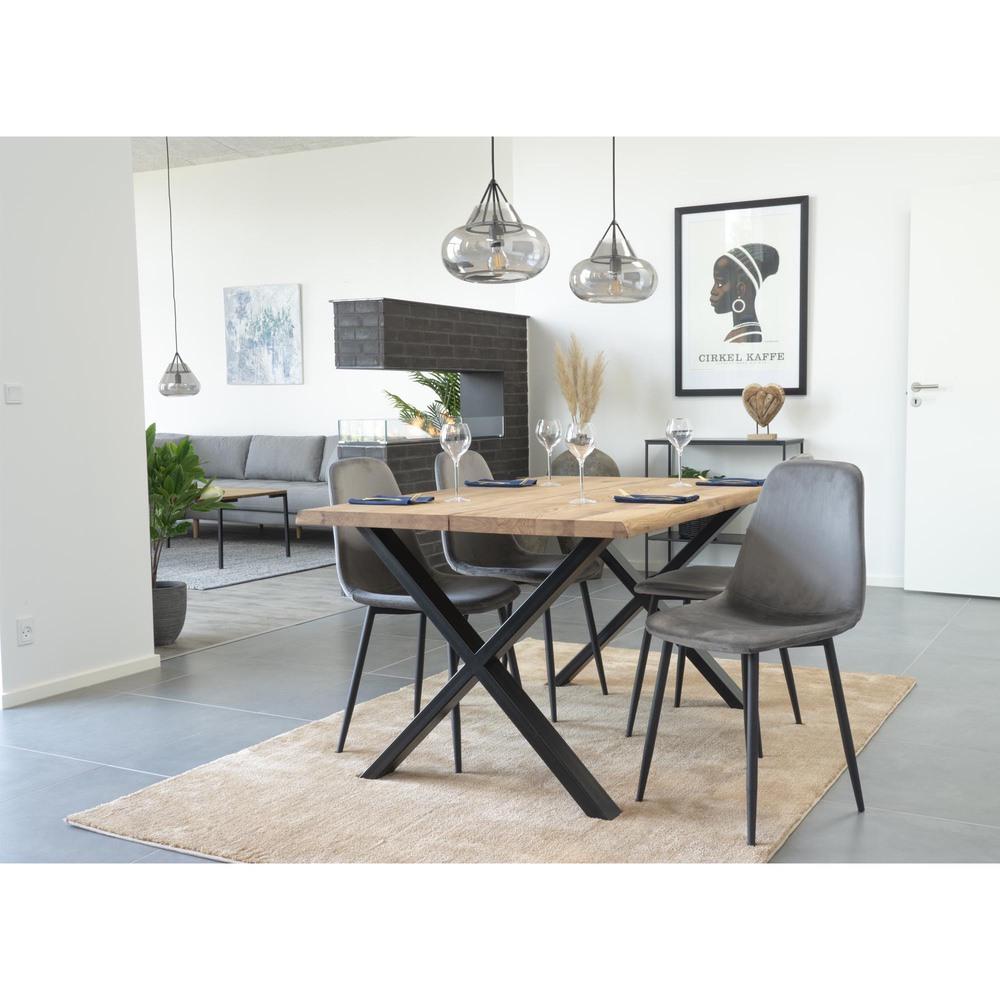 Designová jídelní židle Myla, šedá, černé nohy