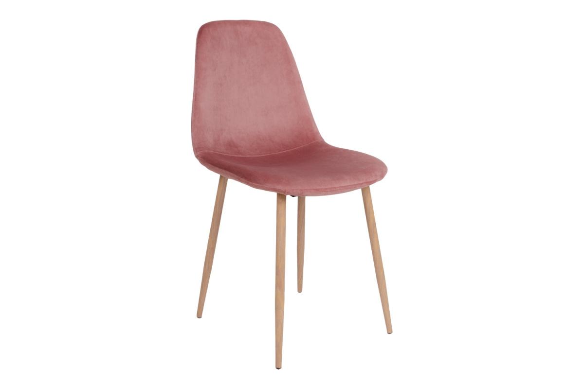Designová jídelní židle Myla, růžová, světlé nohy