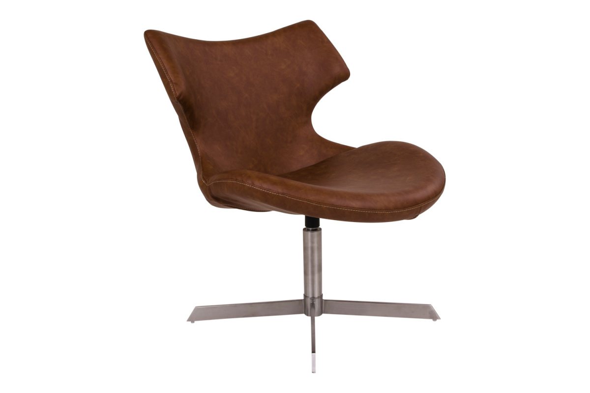 Designová židle Khloe, hnědá koženka