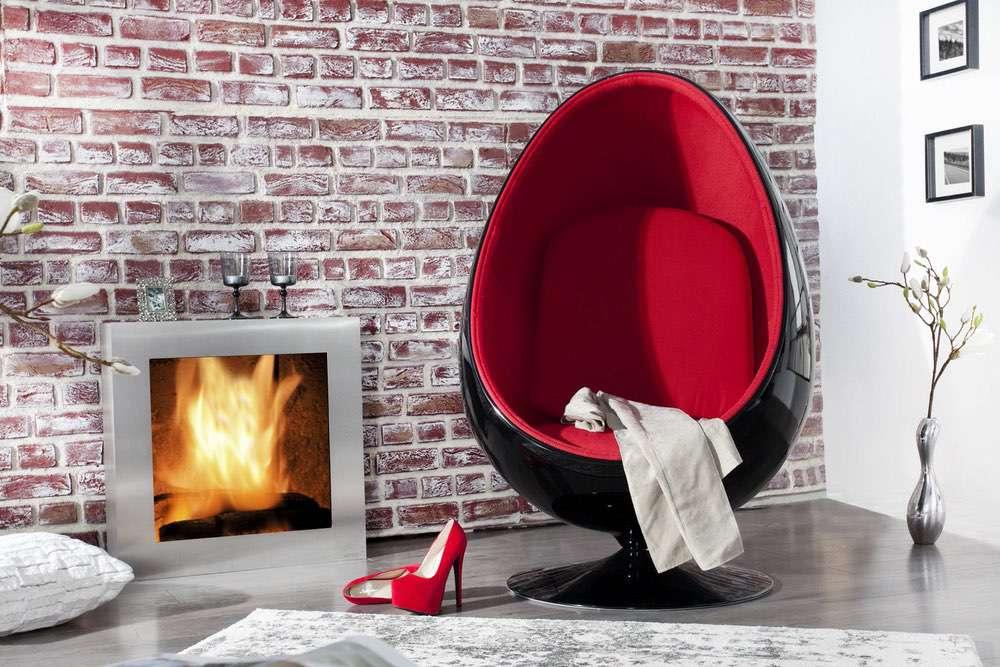 Designové křeslo Space Egg Black Red