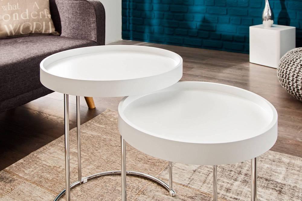Dvojitý konferenční stolek BREAK bílo-stříbrný