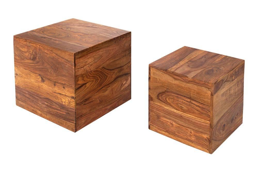 Dizajnové stolky Elegant kostky z masívního dřeva