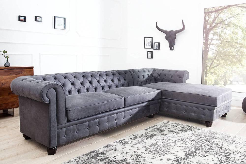 Rohová sedačka Chesterfield Vintage šedá