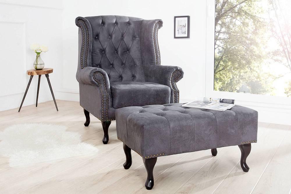 Luxusní křeslo Chesterfield šedá