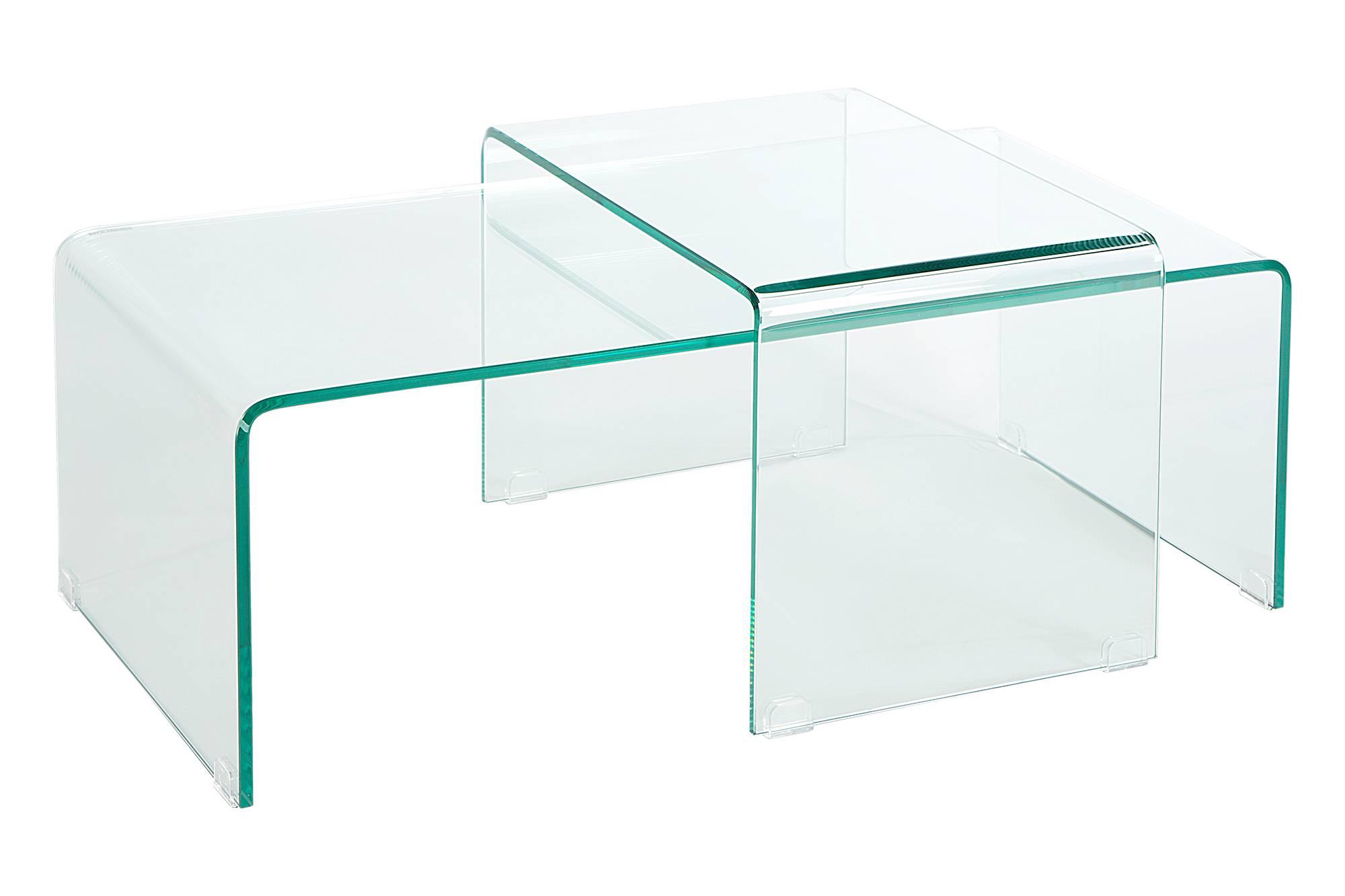 Set 2 skleněných konferenčních stolků Phantom