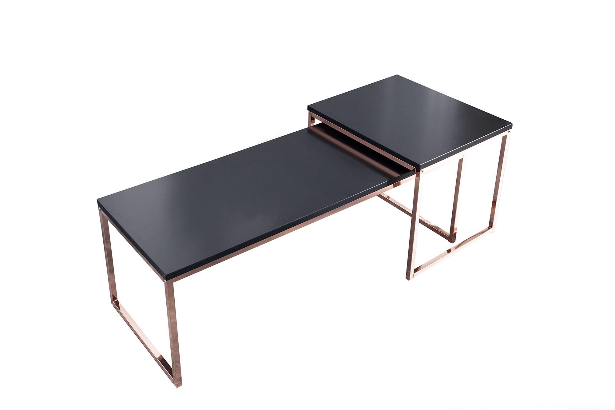 Set 2 konferenčních stolků Nicolette černá - meděná