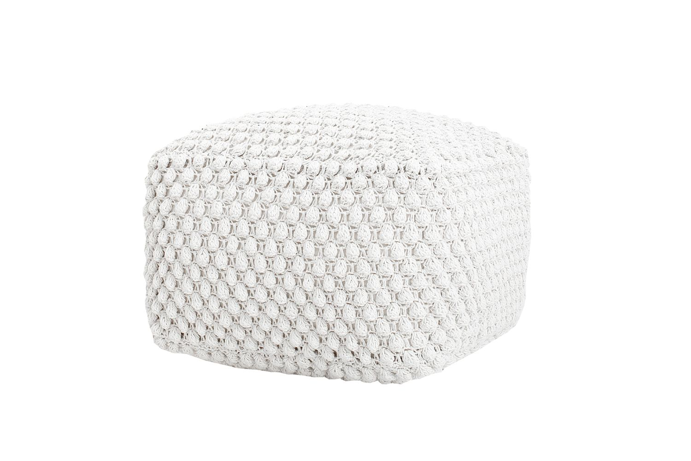 Úpletová taburetka Lilly 55 cm bílá