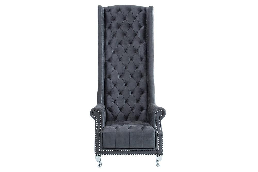 Královské křeslo King Luxury Vintage šedá
