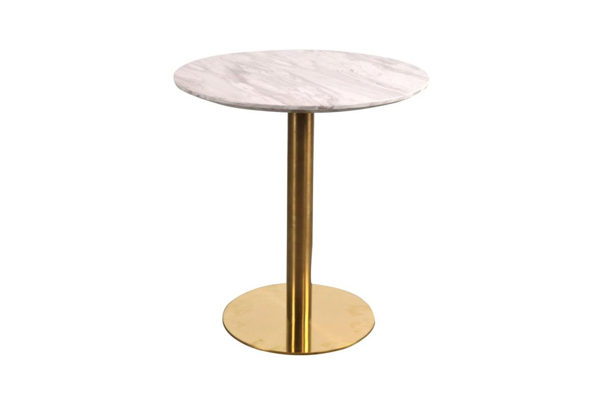 Kulatý jídelní stůl Kane 70 cm imitace mramoru / mosaz
