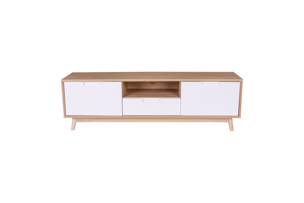TV stolek Ronald, přírodní / bílá