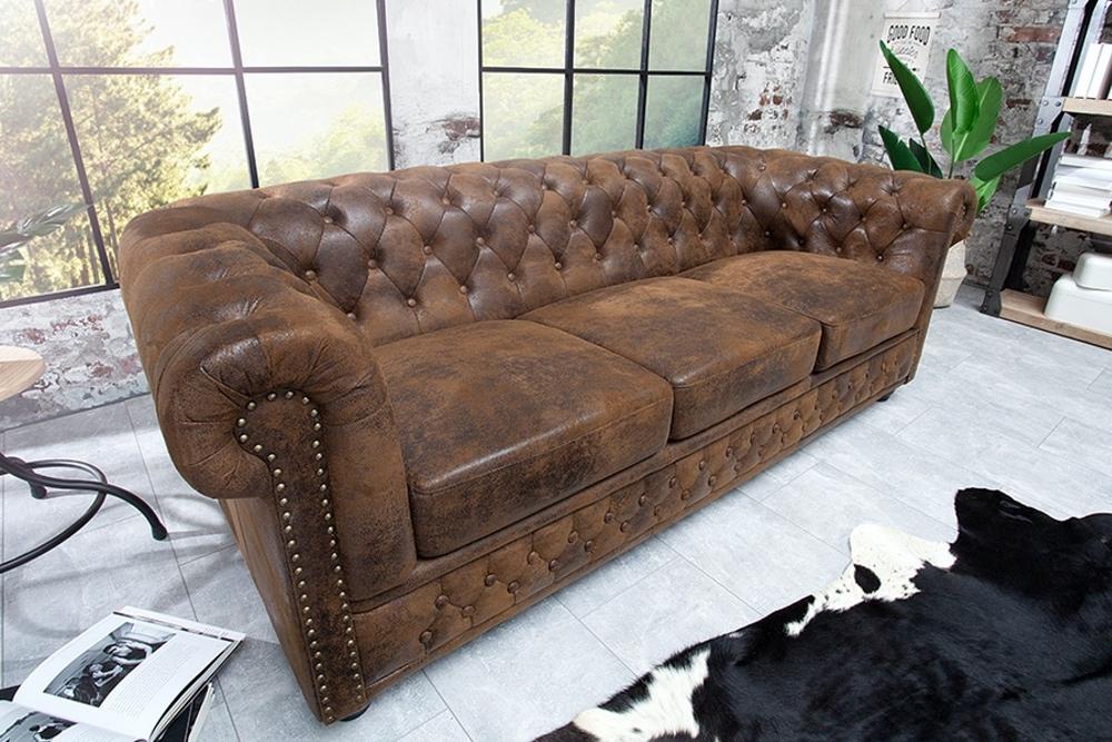 Luxusní troj-sedačka Chesterfield Vintage hnědá