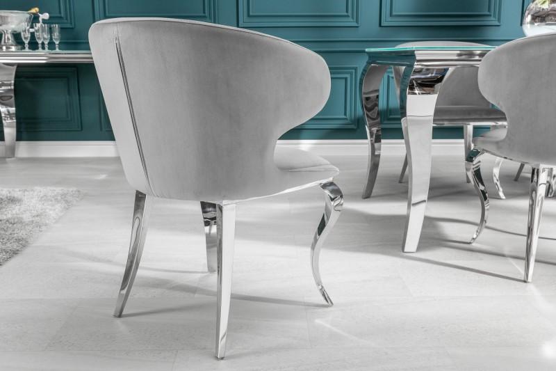 Designová židle Rococo II šedý samet