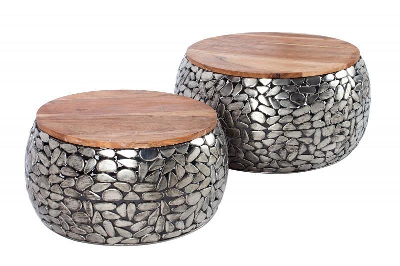 Set konferenčních stolků Mauricio, stříbrný / mango