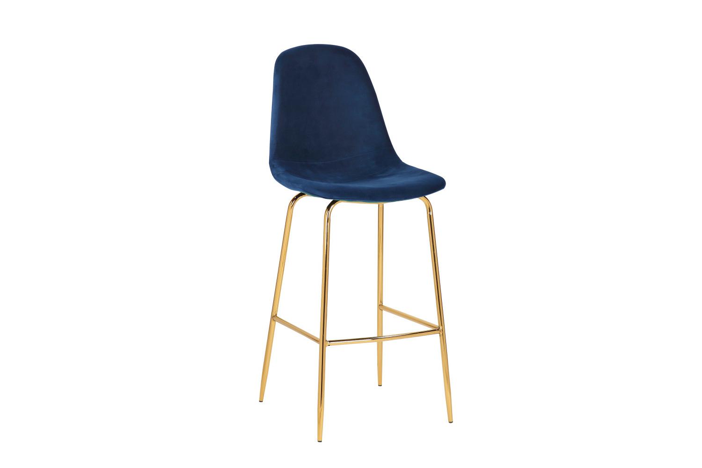 Barová židle Sweden tmavě modrá - zlatá