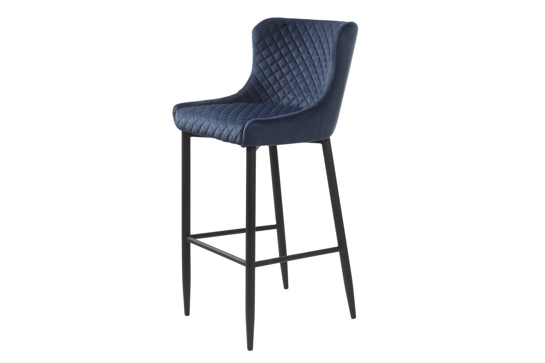 Designová barová židle Hallie modrý samet