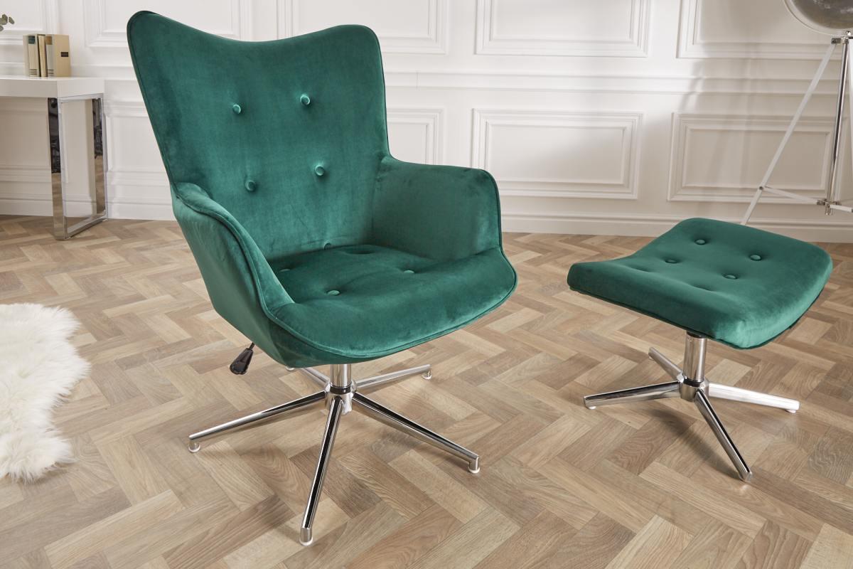 Designová otočná židle Joe - zelený samet