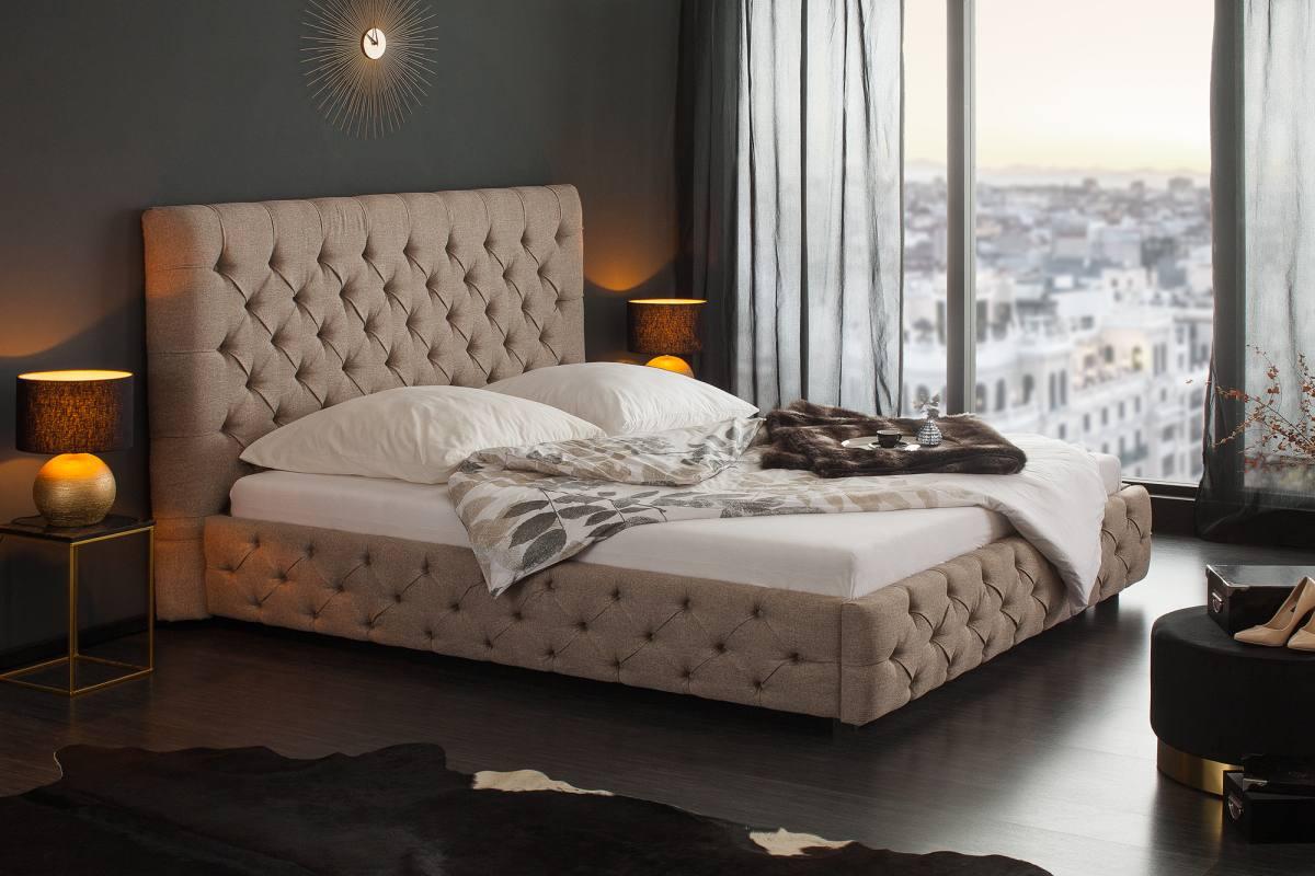 Designová postel Laney, 180x200 cm, přírodně-šedá