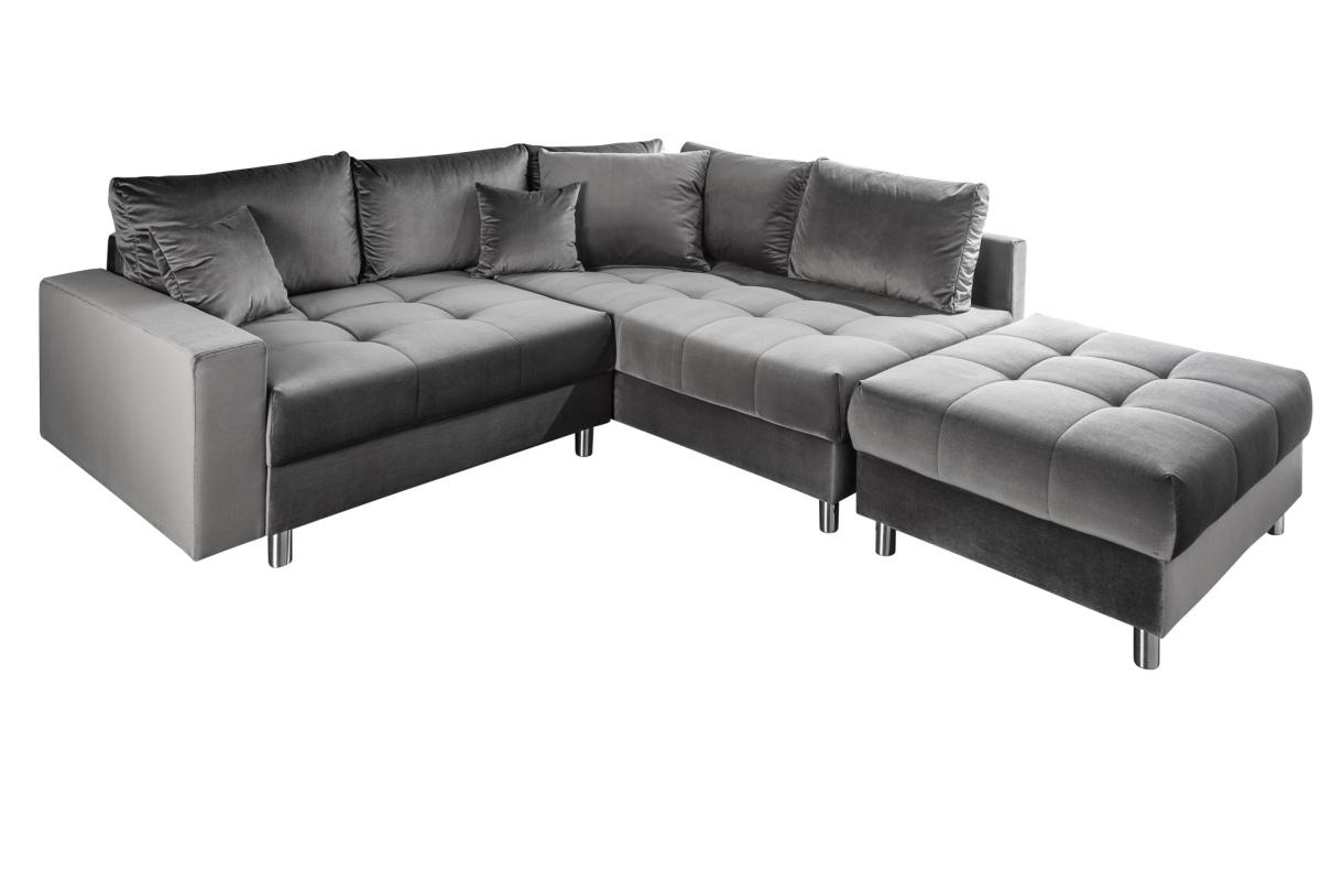 Designová rohová sedačka Ciara 220 cm šedý samet s taburetem