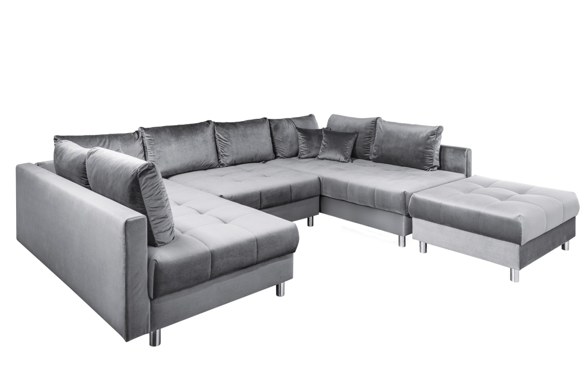 Designová rohová sedačka Ciara XXL 305 cm šedý samet s taburetem