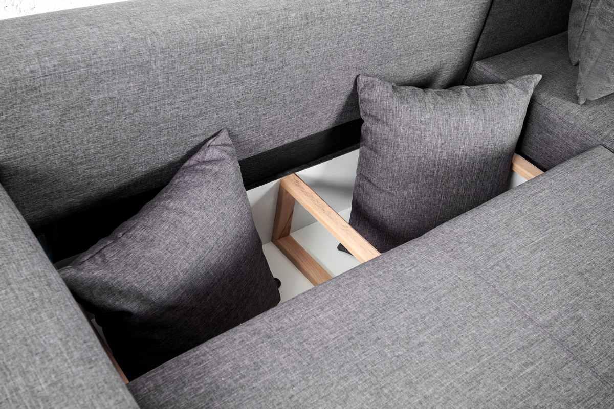 Designová rohová sedačka Roger 255 cm šedá
