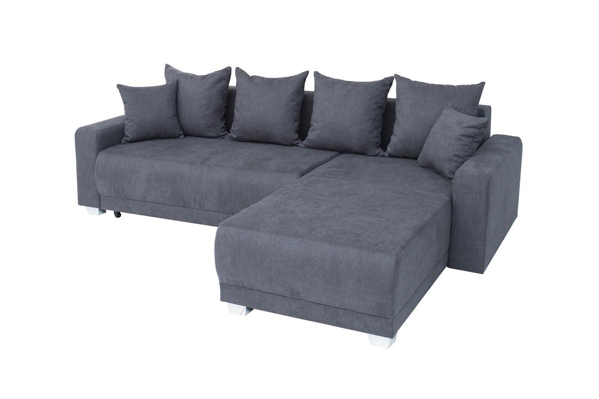 Designová rohová sedačka Roger 255 cm šedá bavlna