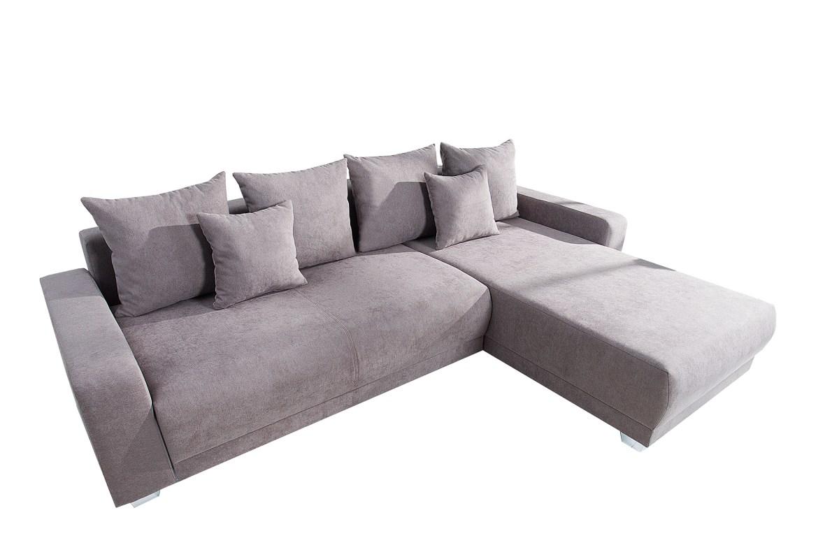 Designová rohová sedačka Roger 255 cm šedo-béžová