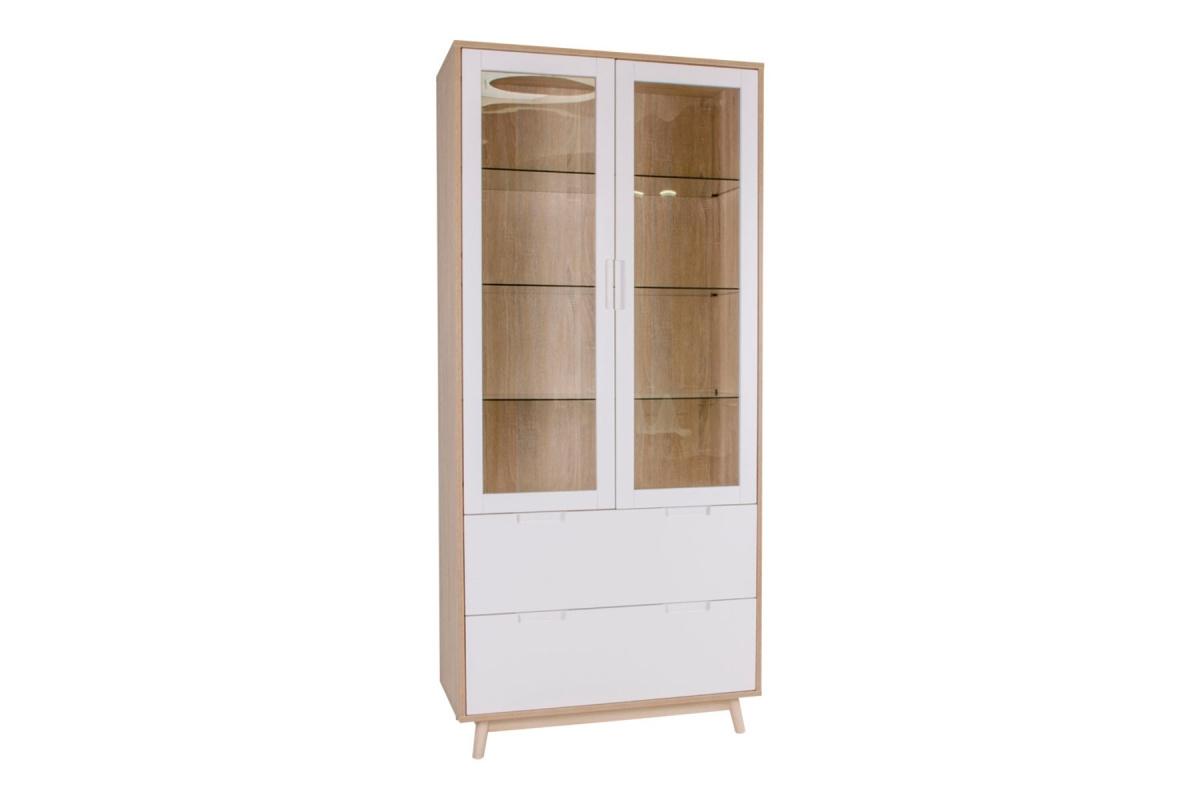 Designová vitrína Ronald bílá - přírodní