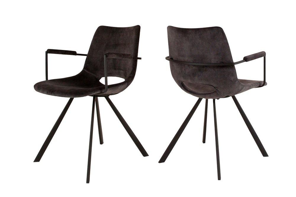 Designová židle Izabella s opěrkami / velur antracitová