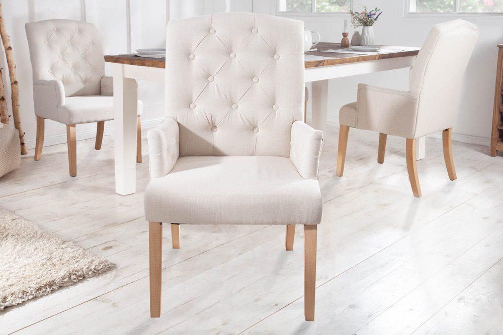 Designová židle s područkami Queen béžová