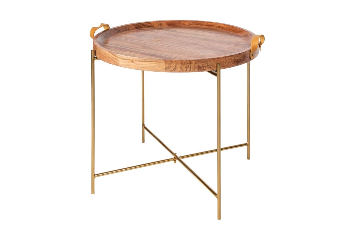 Designový konferenční stolek Freddo 55 cm akácie - zlatý