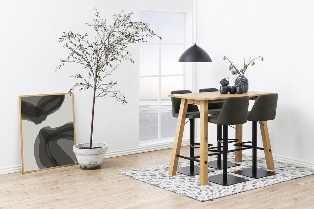 Designová barová židle Alasdair olivově zelená