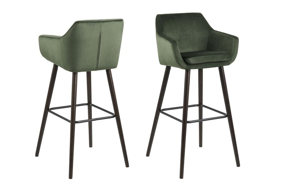 Designová barová židle Almond lesnická zelená