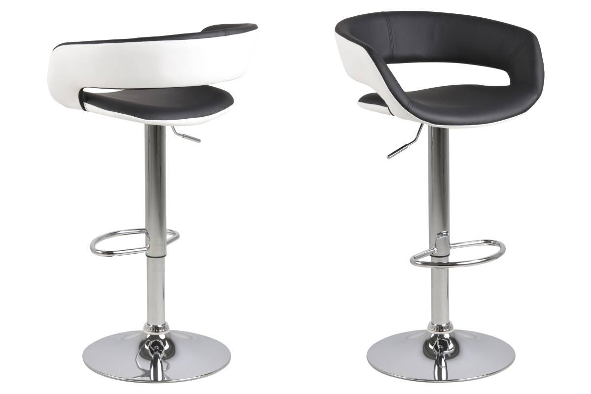 Dizajnová barová stolička Natania, bielo čierna a chrómová
