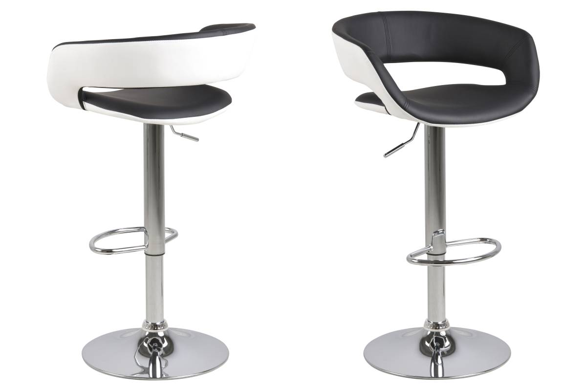 Designová barová židle Natania bílo černá a chromová