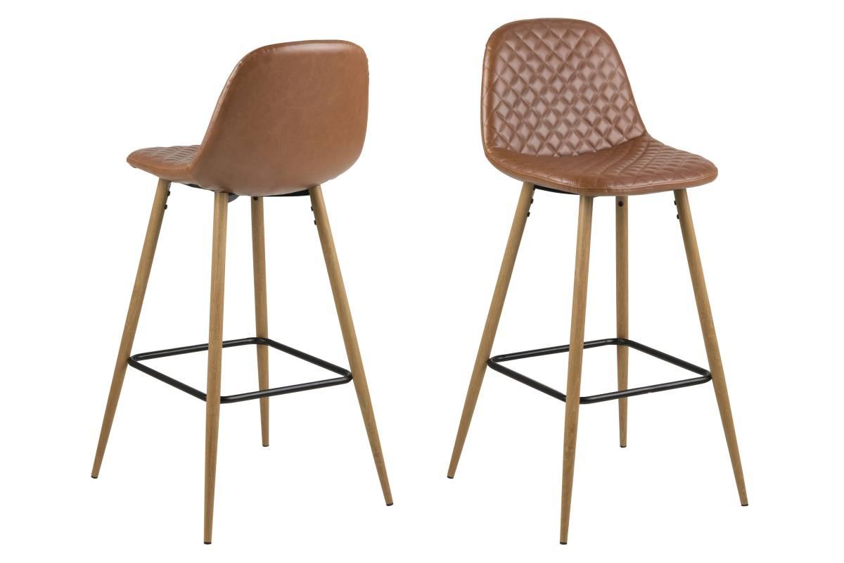 Designová barová židle Nayeli brandy a přírodní