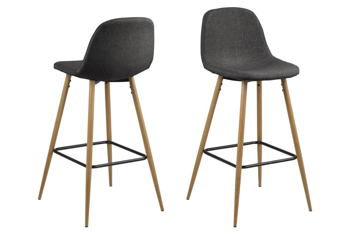 Designová barová židle Nayeli šedá a přírodní