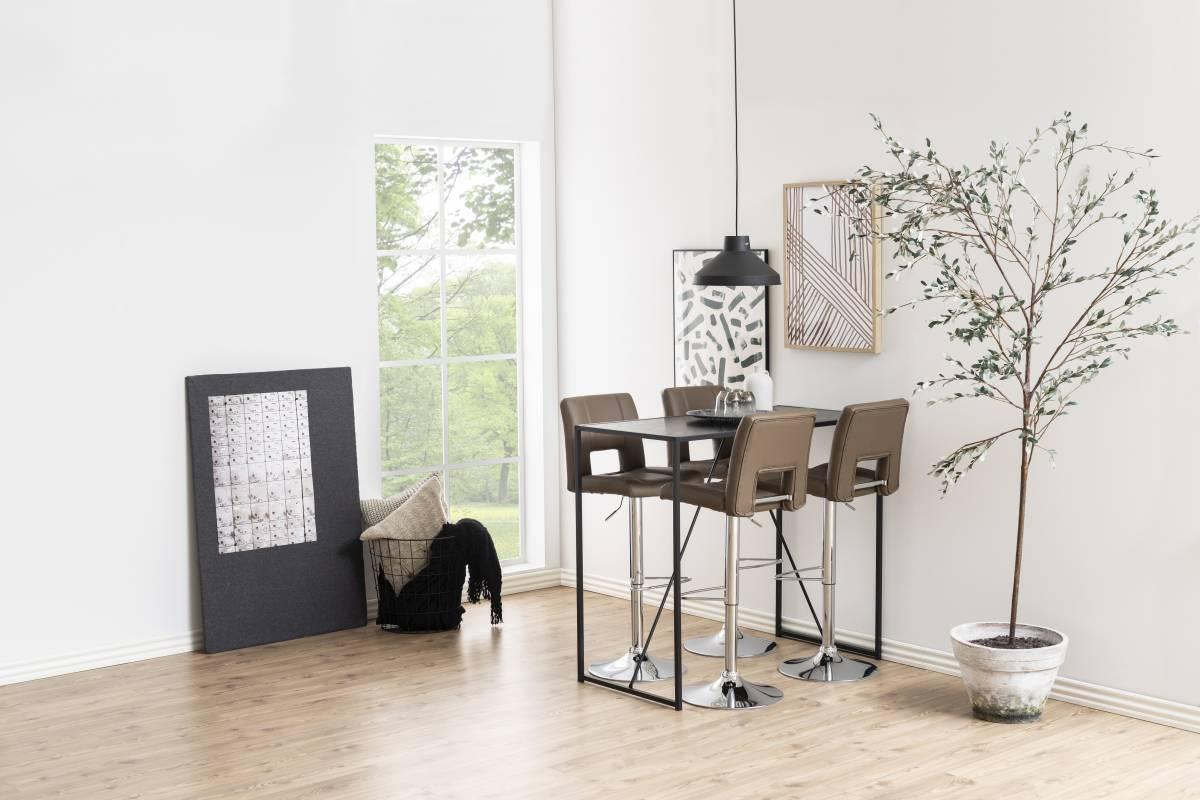 Designová barová židle Nerine kapučínová a chromová-ekokůže