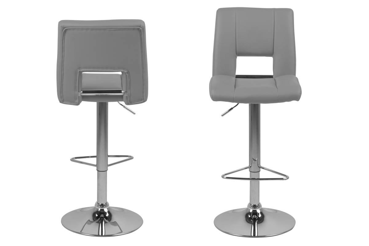 Designová barová židle Nerine šedá a chromová-ekokůže