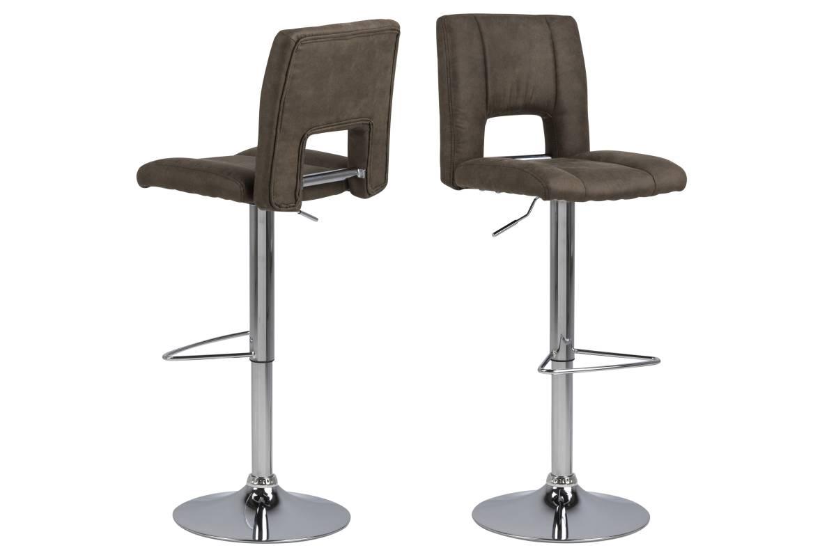 Designová barová židle Nerine světle hnědá a chromová