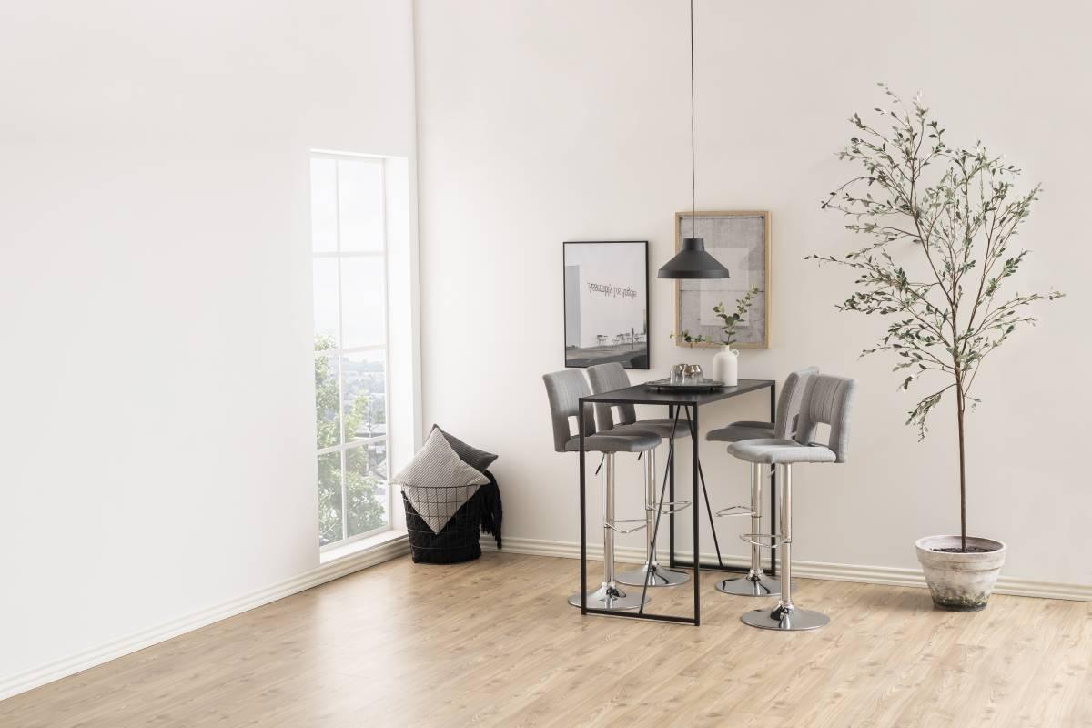 Designová barová židle Nerine světle šedá a chromová-tkanina