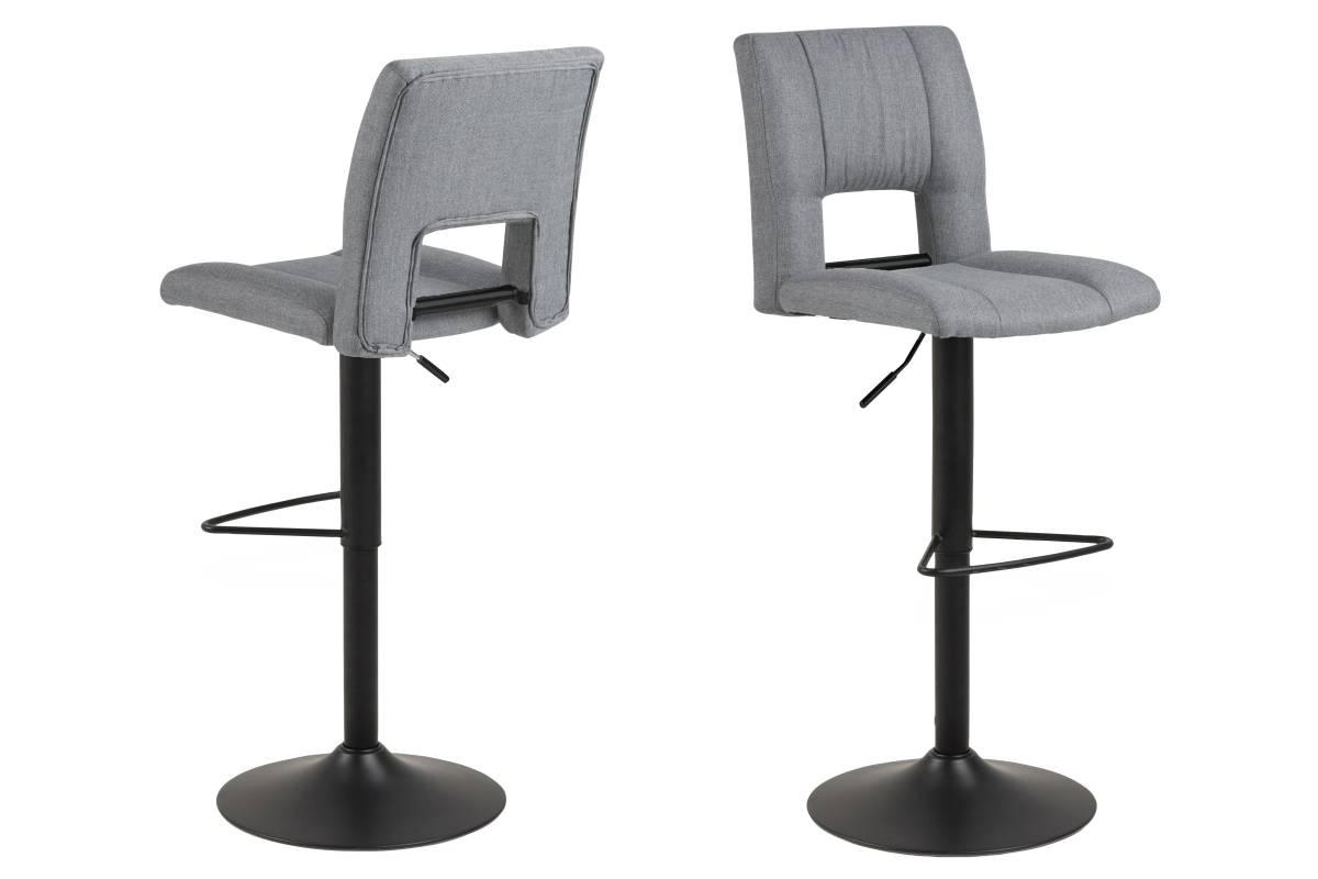 Designová barová židle Nerine světle šedá a černá