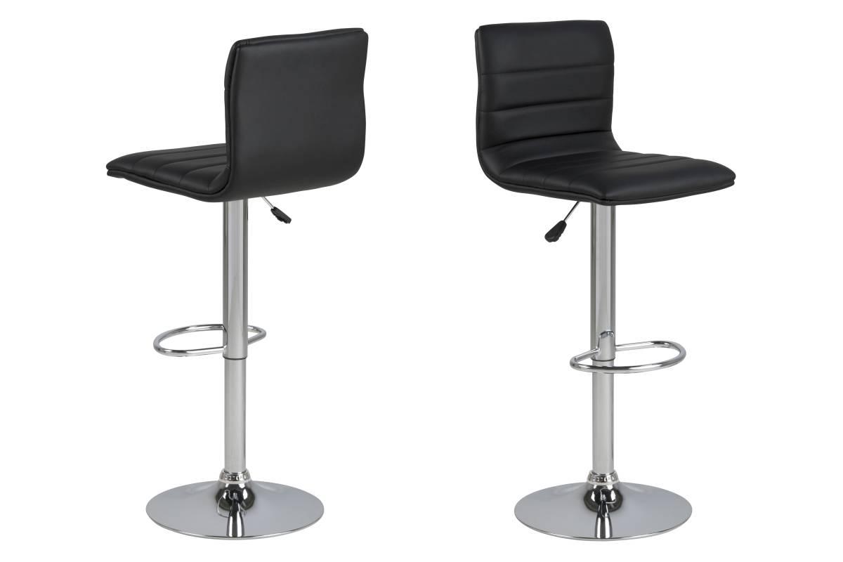 Designová barová židle Nessa černá a chromová