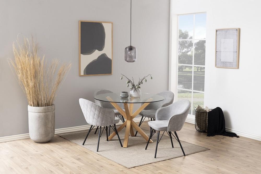 Dizajnová jedálenská stolička Alfie, sivá