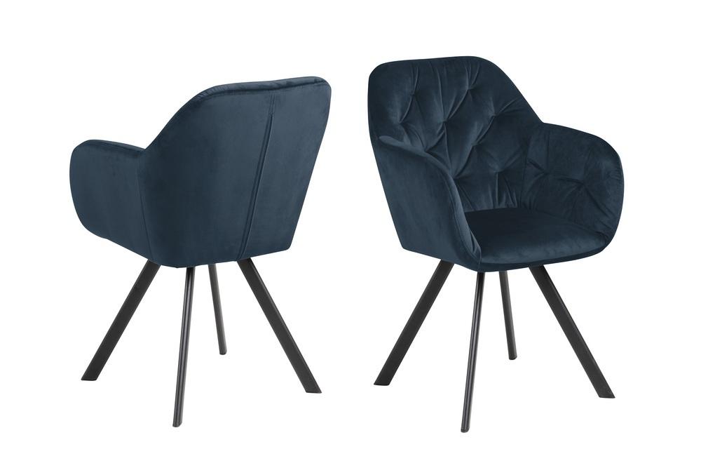 Dizajnová otočná stolička Aletris, tmavomodrá