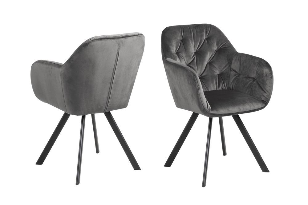 Dizajnová otočná stolička Aletris, tmavosivá