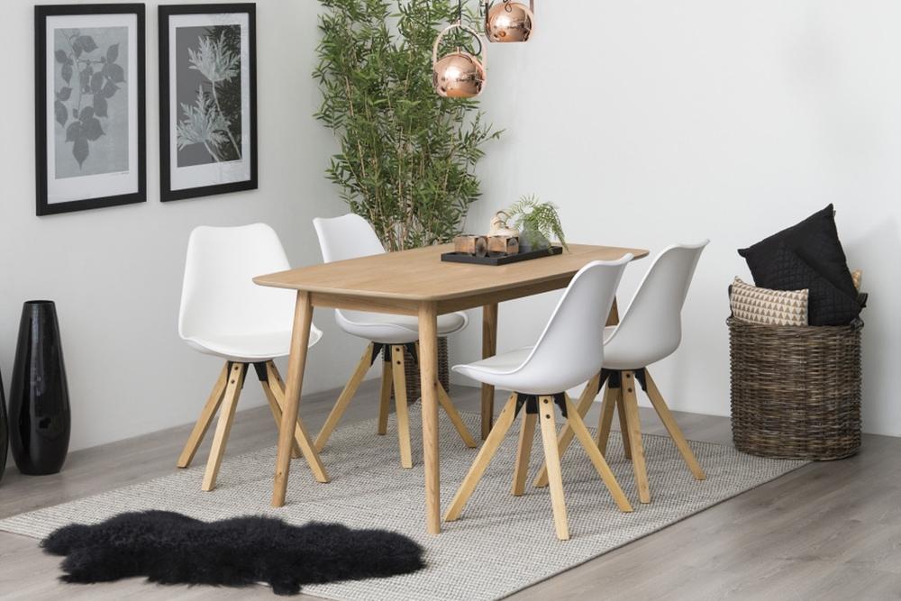 Dizajnová stolička Nascha, biela-prírodná