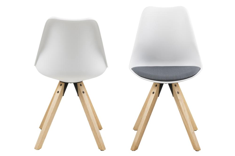 Dizajnová stolička Nascha, biela-tmavošedá-prírodná