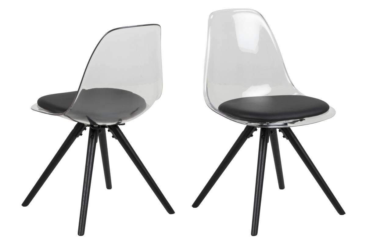 Dizajnová stolička Nera, priesvitná-čierna