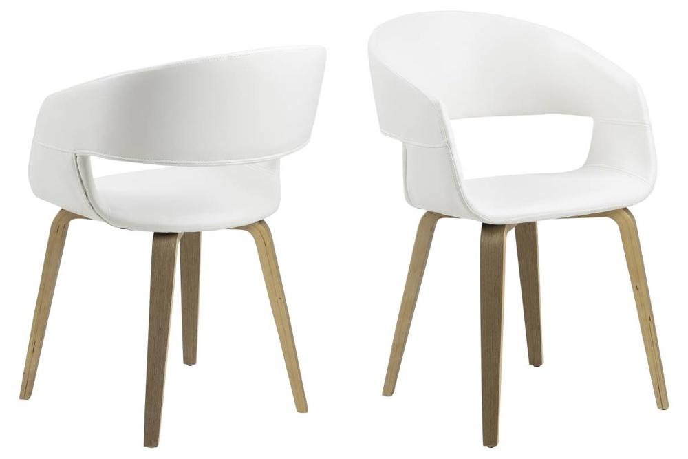 Dizajnová stolička Nere, biela-lipa