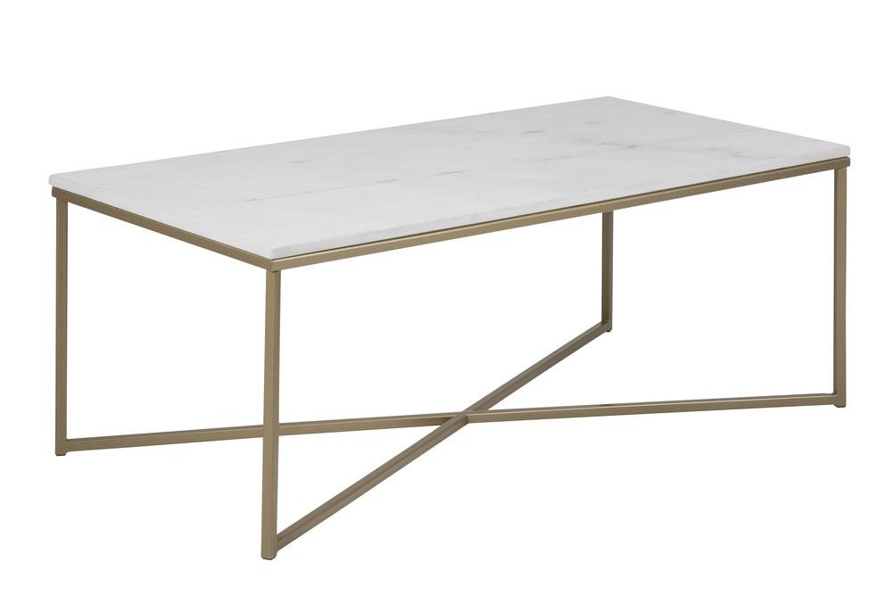 Dizajnový konferenčný stolík Agostino, biela / svetlá mosadz
